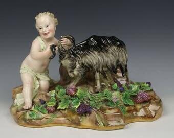 """Meissen Kaendler figurine A96 """"Faun with Goat"""""""