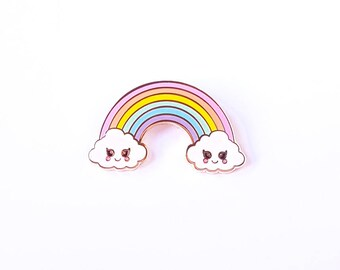 Rainbow pin | Cloud pin | Whimsical pin | Cute kawaiipin | Colourful | Pastel