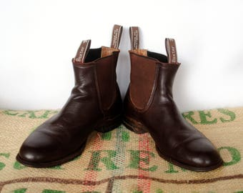 Black Baxter Boots -  80s Vintage Made in Australia – RM Williams style Leather Chelsea Ankle Boots -Size AU 8.5 9-9.5 usL 10.5 EU42