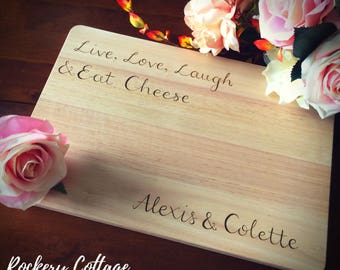 Personalised chopping board, custom cutting boards, cheese board, custom board, personalised board, wedding gift, live love laugh eat cheese