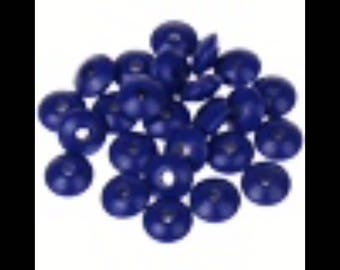 Navy lot 50 flat beads 10 Mm