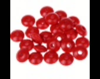 25 flat 10 mm red wood beads