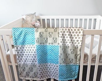 Elephant Baby Blanket Blue & Grey, ideal for car, stroller or play mat, unique shower present for newborn boy, little brother, godson,nephew