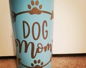 Dog mom gold glitter tumbler