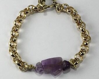 Handmade Men's Genuine Purple Amethyst Bracelet men's Simple Golden Chain Bracelet men's amethyst bracelet February Birthstone jewelry