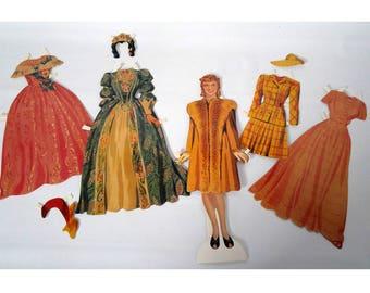 Vintage Paper Doll Set, Jeannette MacDonald, 1930s Singer/Actress, Costumes, Shackman & Co.