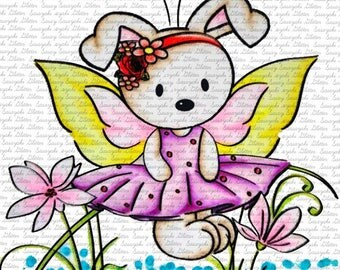 Butterfly Bun Digital stamps by Sasayaki Glitter - Black and White