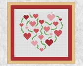Pink hearts cross stitch pattern, easy modern embroidery pattern, simple quick design, vine heart, full instructions included, printable PDF