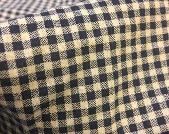 Gingham Fabric Vintage. FQ. Dark Blue Gingham Fabric. Gingham Print Fabric. Vintage Gingham Fabric. Vintage Blue Fabric