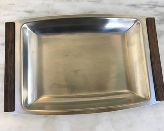 "vintage Danish stainless steel tray wood handles, rectangle 13"" x 8"", retro barware, kitchen storage, mid century modern"
