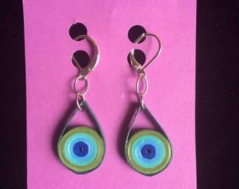Funky earrings, lightweight teardrop earrings, boho jewelry, paper quilling jewelry, summer earrings, everyday jewelry