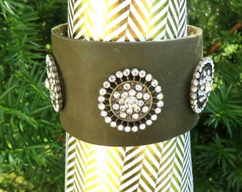 Olive green leather cuff bracelet, brooch leather bracelet, Women's leather cuff bracelet, suede leather wrist band,