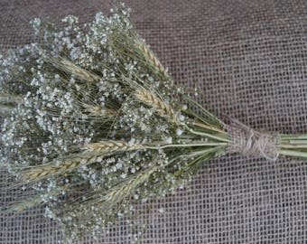 Dried flower bouquet Dried white gypsy bouquet with ears Wedding bouquet Gypsophilia with wheat ears