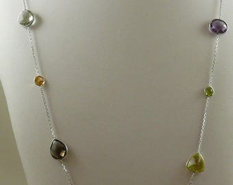 Multicolor Gemstones 36 Inches Necklace 14k White Gold