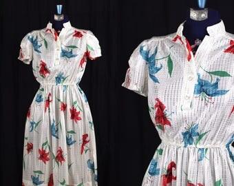 Vintage 1970s Americana Lilies Semi Sheer Dress / xsmall small