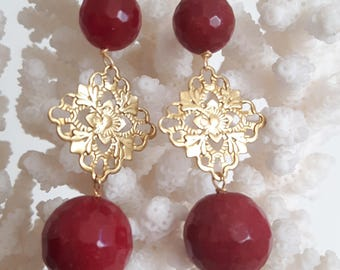 Silver earrings with gemstone Ruby root and brass
