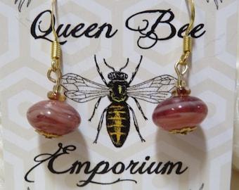 Coral glass beaded earrings - gold-filled hooks