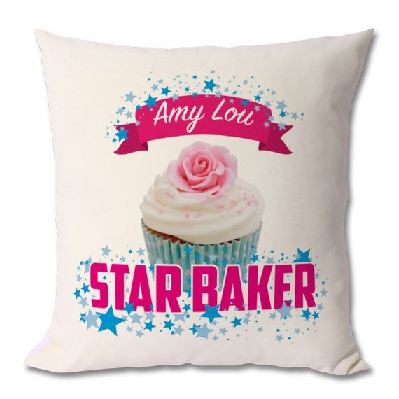 Personalised Star Baker Cushion. Zipped cover and cushion included