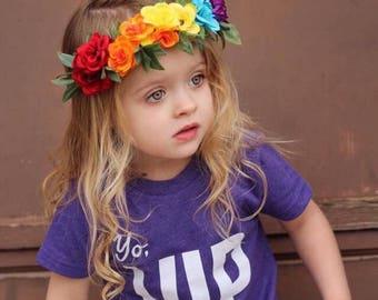 Rainbow crown/ pride crown / rainbow flower crown / flowercrown / boho / oversized flower crown / pride