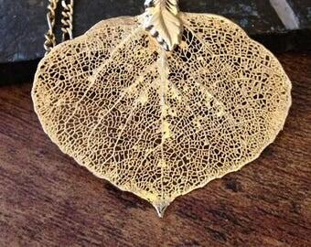 Golden Aspen Leaf Necklace