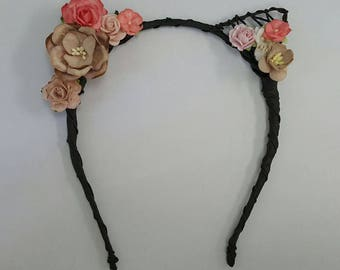 Flower cat ears headband, floral cat ears, cat ears headband, festival, ariana grande, cat ears, ultra, edc, Rave, Rose Cat Ears