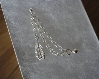 Dainty Feather Double earring