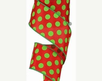 On Sale RIBBON - Wired Ribbon - 100 Feet - Red Ribbon - Wreath - Green Ribbon  - Floral Ribbon - Polka Dots - Dots - RG35893Y