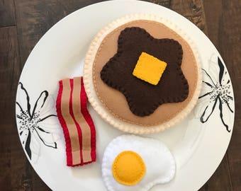 Felt Breakfast Food - Felt Bacon - Felt Pancakes - Felt Eggs- Felt Pretend Play Food Set
