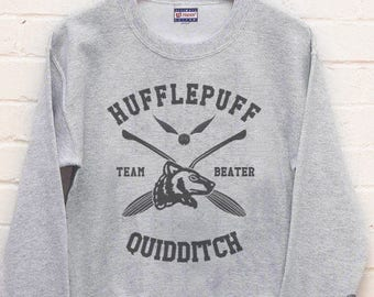 BEATER - Huffle Quidditch team Beater printed on Light steel color Crew neck Sweatshirt