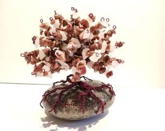 Rhodonite & Rose Quartz Healing Gemstone Tree