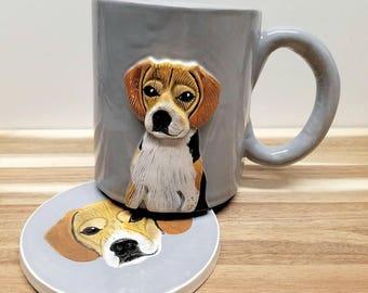 Custom Pet Portrait Mug + Coaster Set, pet portrait, dog portrait, cat portrait, pet mug, pet coaster, custom pet portrait, coffee mug!