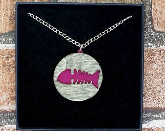 Pink Dead Fish Skeleton Wood & Acrylic Necklace