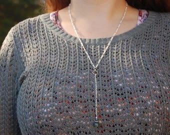 Ocean Jasper and Hematite Genuine Gemstone Y Necklace