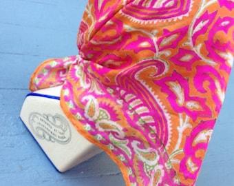 Vintage Fuchsia Silk Square Scarf // Sixties Silk Paisley Scarf // 60s Headwrap Silk Pink