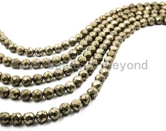 Quality Natural Pyrite 2mm/3mm/4mm/6mm/8mm/10mm/12mm/14mm/16mm beads, Round Faceted Pyrite Gemstone Beads, 15inch strand, SKU#W2