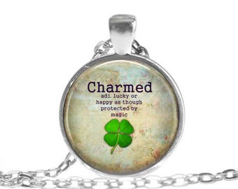 Good luck pendant etsy good luck gifts good luck necklace charmed pendant necklace good luck pendant charmed keychain st patricks mozeypictures Gallery