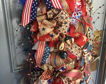 Patriotic swag, door swag, July 4th swag, Memorial Day swag, Patriotic decor, door decor, July 4th decor, Labor Day decor, Memorial Day