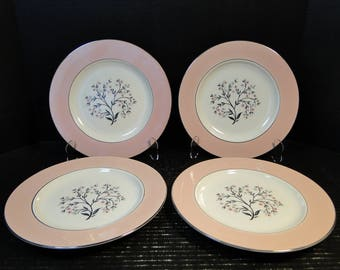 "FOUR Homer Laughlin Cavalier Springtime Dinner Plates 10 1/4"" CV32 Pink Set of 4 EXCELLENT!"