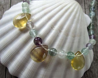 Fluorite gemstone beaded necklace knotted // ready to ship