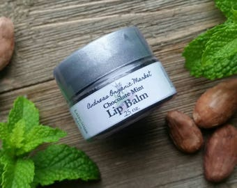 Organic Chocolate Mint Lip Balm, Natural Lip Moisturizer, Organic Lip Care, Natural Skin Care, Mint Chocolate Chip Lip Edible Lip Balm