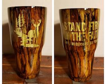 Wood grain tumbler 30oz