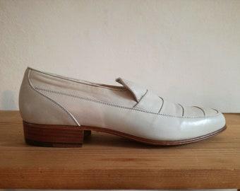 Vintage designer calf leather deadstock shoes loafers womens uk 6 eu 39