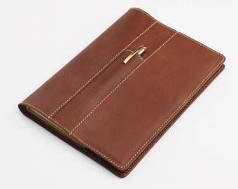A5 Travellers Leather Notebook,  Personalised Leather Journal Cover with Front Pen Pocket– Brown Goatskin Leather