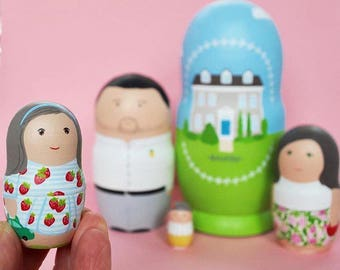 Portrait family set of 5 wooden matryoshka dolls.
