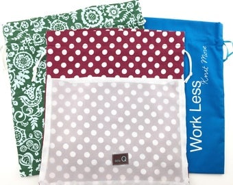 "Della Q Drawstring Bags 3PC Set: Peek Bag, Blue Edict Bag Green Print Pouch Della Q Drawstring Bags Project Set Edict ""Work Less Knit More"""
