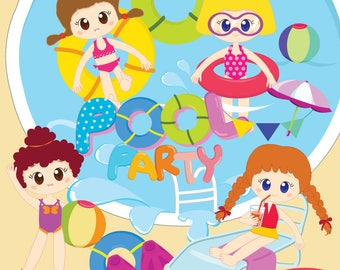 Girls pool party clipart,Pool clipart,Pool party digital clipart,Swim girls,Summer girls,Swim clipart,Personal and Commercial Use_ C2