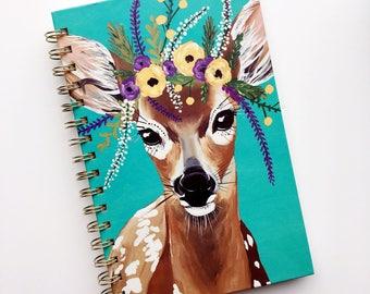Floral crown deer notebook