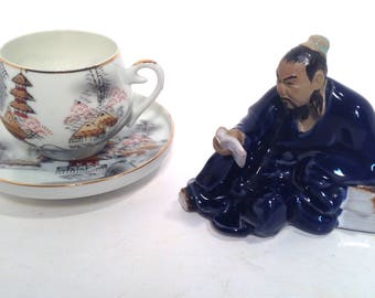 Asian tea cup, saucer, and ceramic figurine, reading room, knick knack shelf, FREE SHIPPING