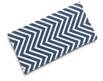 Checkbook cover, checkbook holder, wallet, receipt holder, navy chevron
