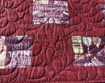 Quilted Wine Table Runner in Purples and Pinks | Better With Age Gift Table Runner | Quilted Wine Party Table Topper